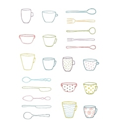 Cups mugs silverware outline drawing design set vector