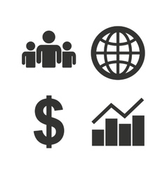 Business signs graph chart and globe icons vector