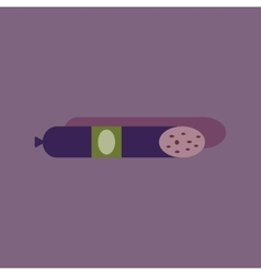Flat with shadow icon sausage on bright background vector
