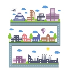 City skylines landscape constructor icons set vector