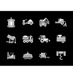 White glyph agriculture vehicles icons vector