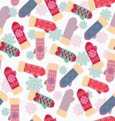 Cute background with mittens and snowflakes vector