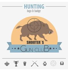 Hunting logo and badge template dog hunting vector