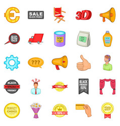 Advertisement icons set cartoon style vector