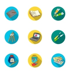 Artist and drawing set icons in flat style Big vector image vector image