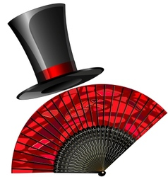 black top hat and red fan vector image