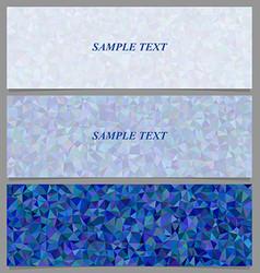 Blue tiled triangle mosaic banner design set vector