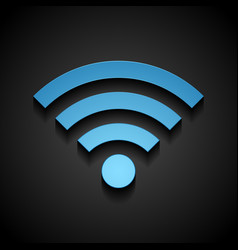 Blue wifi tech icon on black background vector