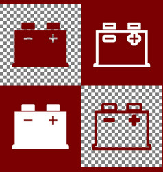 Car battery sign bordo and white icons vector