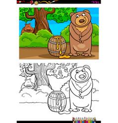 cartoon bear with honey coloring book vector image vector image
