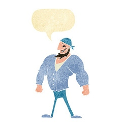 Cartoon manly sailor man with speech bubble vector