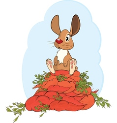 cheerful rabbit and carrots vector image vector image