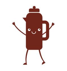 coffee teapot kawaii character vector image