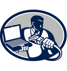 Computer technician holding laptop cable retro vector