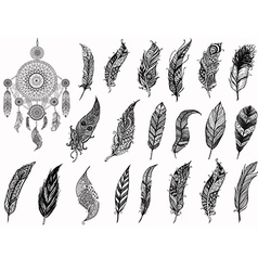 Dream catcher and feathers vector image vector image