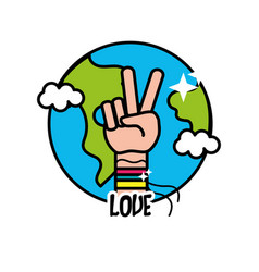 Earth planet with hand symbol of peace and love vector