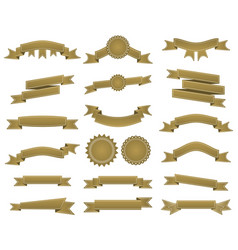Embroidered bronze ribbons and stumps pack vector