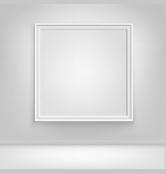 Empty white poster picture frame on wall vector