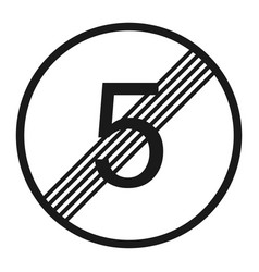 End maximum speed limit 5 sign line icon vector