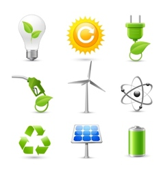 Energy and Ecology Realistic Icons Set vector image vector image