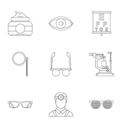Eyes icons set outline style vector