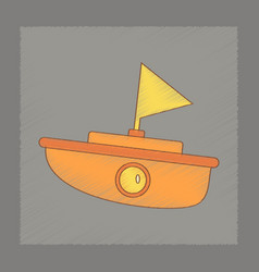 Flat shading style icon kids boat vector
