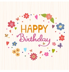 Happy birthday bright and stylish text on a strip vector