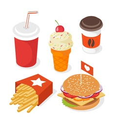 Isometric style 3d set of fast food of burger vector image vector image