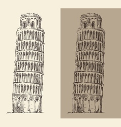 Leaning tower of pisa and cathedral italy vector