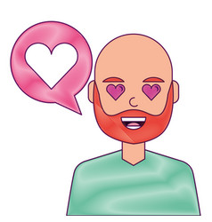 man with love heart in speech bubble vector image