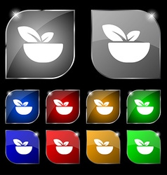 Organic food icon sign set of ten colorful buttons vector