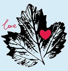 prints black leaf on a blue background love vector image