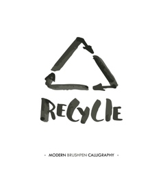 Recycle word and logo painted with brush vector