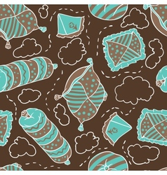 Seamless pattern from pillows hand drawn vector image