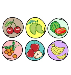 Set of Fresh Fruits on Round Background vector image vector image
