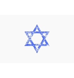 Star of david in grunge style triangle logo vector