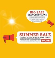 Summer offer flat loudspeaker vector image