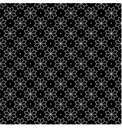 white flower and dots japanese seamless on black vector image