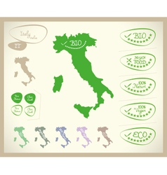 Bio map it italia italy vector