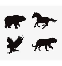 Animal silhouettes horse feline eagle and bear vector