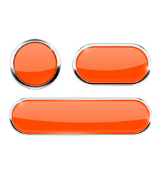 Orange buttons with chrome frame vector