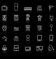 Household line icons with reflect on black vector