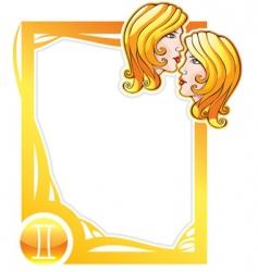 zodiac frame series gemini vector image