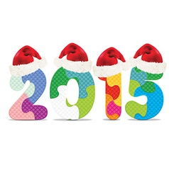 2015 made from alphabet puzzle with christmas hats vector