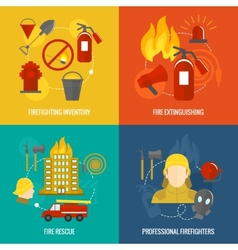 Firefighting icons composition vector