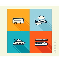 Business icon set transport traveling tourism flat vector