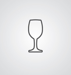 Wineglass outline symbol dark on white background vector