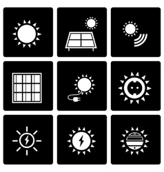Black solar energy icon set vector