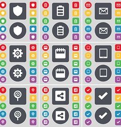 Badge battery message gear calendar tablet pc vector