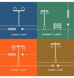 Set 4 street lights and socket icon vector
